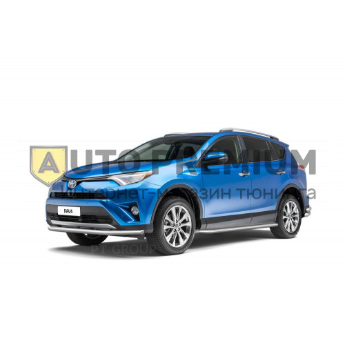 Защита порогов с алюминиевой площадкой (НПС) Toyota RAV4 с 2013